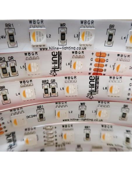 RGBW LED-Streifen (RGB+WW) 24V-14,4W/m- IP65-CRI80-SMD5050