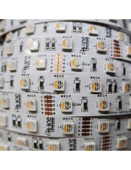 RGBW LED Streifen (RGB+WW) 24V-14,4W/m IP00