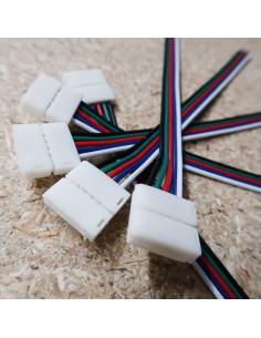 5polige-Lötfreie Stromanschlussklemme mit 15cm Kabel für 12mm RGBW LED-Streifen (5er Packung)