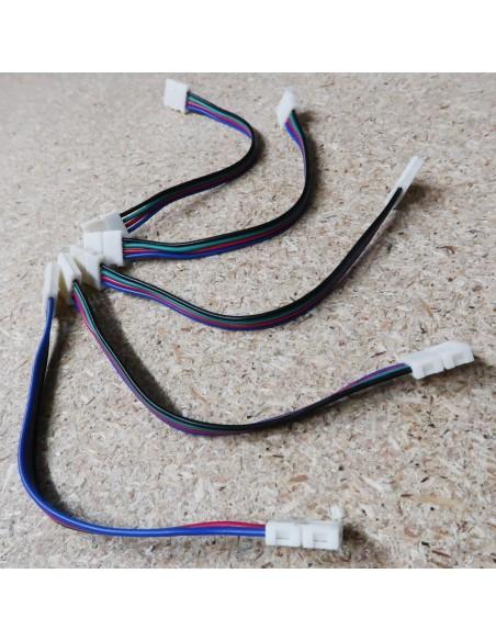 4polige-Lötfreie Verdrahtungsklemme (15cm Kabel) für 10mm RGB LED-Streifen (5er Packung)