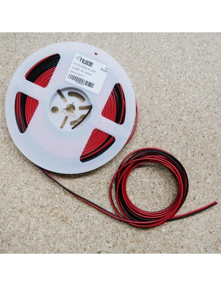 2 cores Red/Black LED strip wire AWG 18, 20m roll