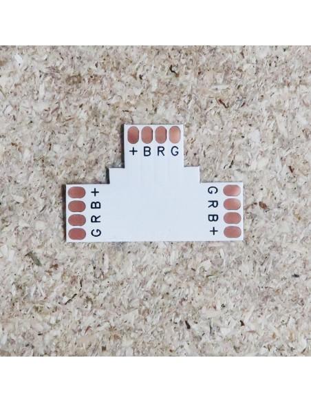 4poliges-Lötfreies T-förmiges PCB Verbindungsstück für 10mm  RGB LED-Streifen  (5er Packung)
