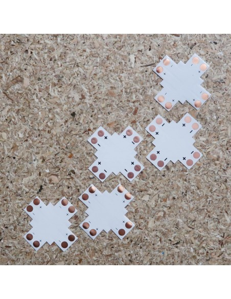 2poliges-Lötfreies Kreuzförmiges PCB Verbindungsstück für 10mm LED-Streifen (5er Packung)