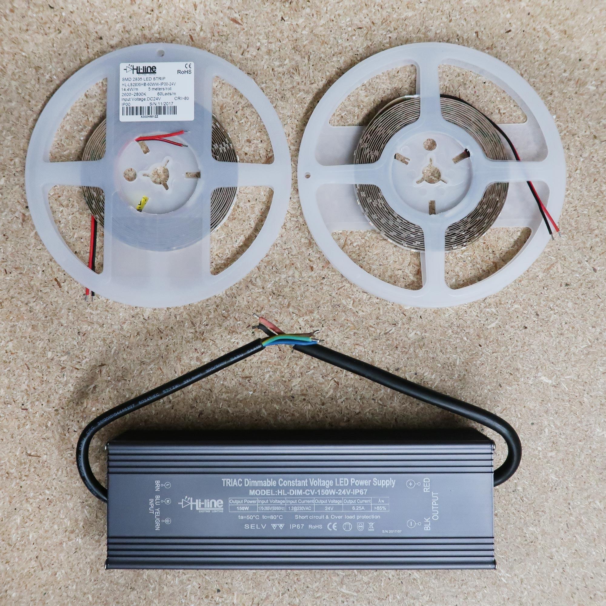 Mains Dimmable Warm White Led Strip Kit 10m Driver Dimming Power Supply Dimmer For 12v 24v