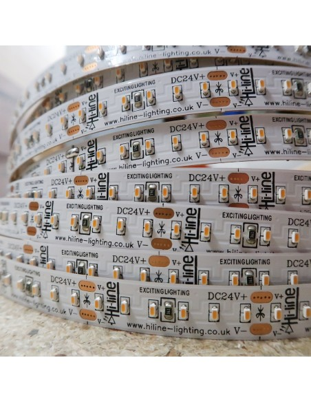 2700K Warm White LED Strip 24V 14.4W/m IP00 SMD 2110 CRI90 180/m 5m roll