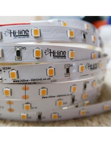 3000K 24V 7.2W/m Warm White LED Strip IP00 CRI90 5m roll