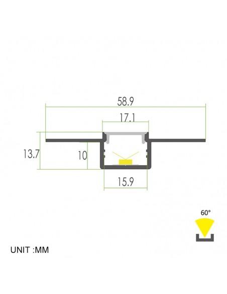 Trimless Plaster-in PMMA LED Aluminium Profile 2 meters