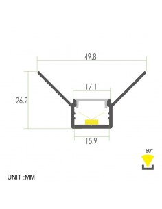 Plaster-in Aluminium LED Profile 2 meters for internal corner