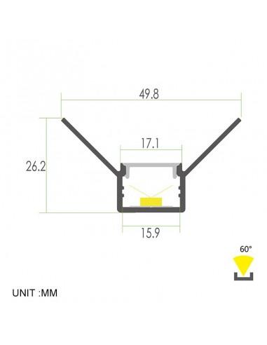 Plaster-in Aluminium LED Profile 2 meters for internal corner