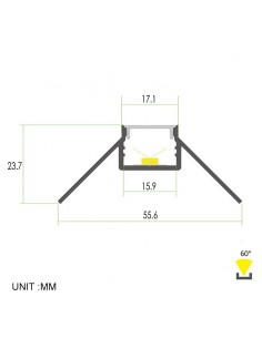 Plaster-in Aluminium LED Profile 2 meters for external corner