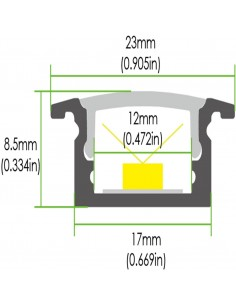 Slim Recessed LED profile extrusion dimensions